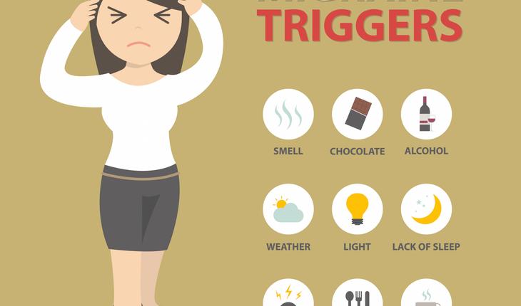 migraine triggers cartoon