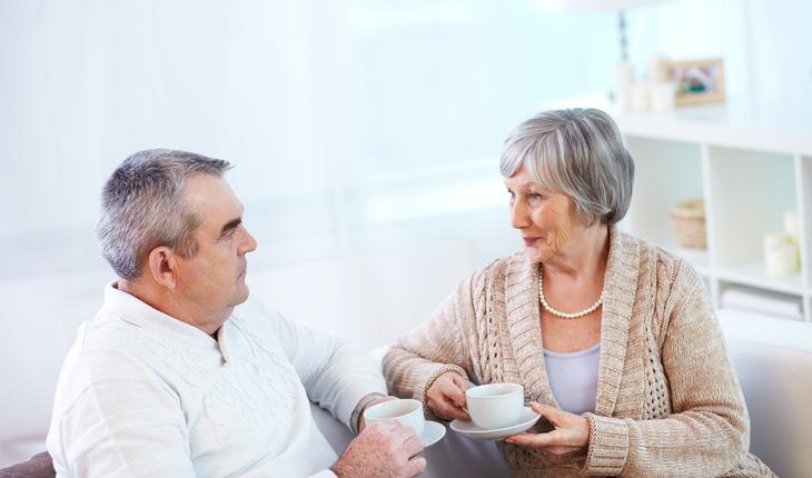older couple talking