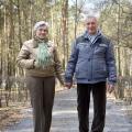 older couple walking in winter
