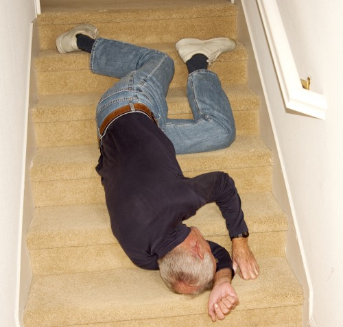 older man falling cartoon