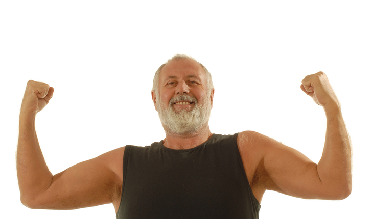 older man flexing biceps
