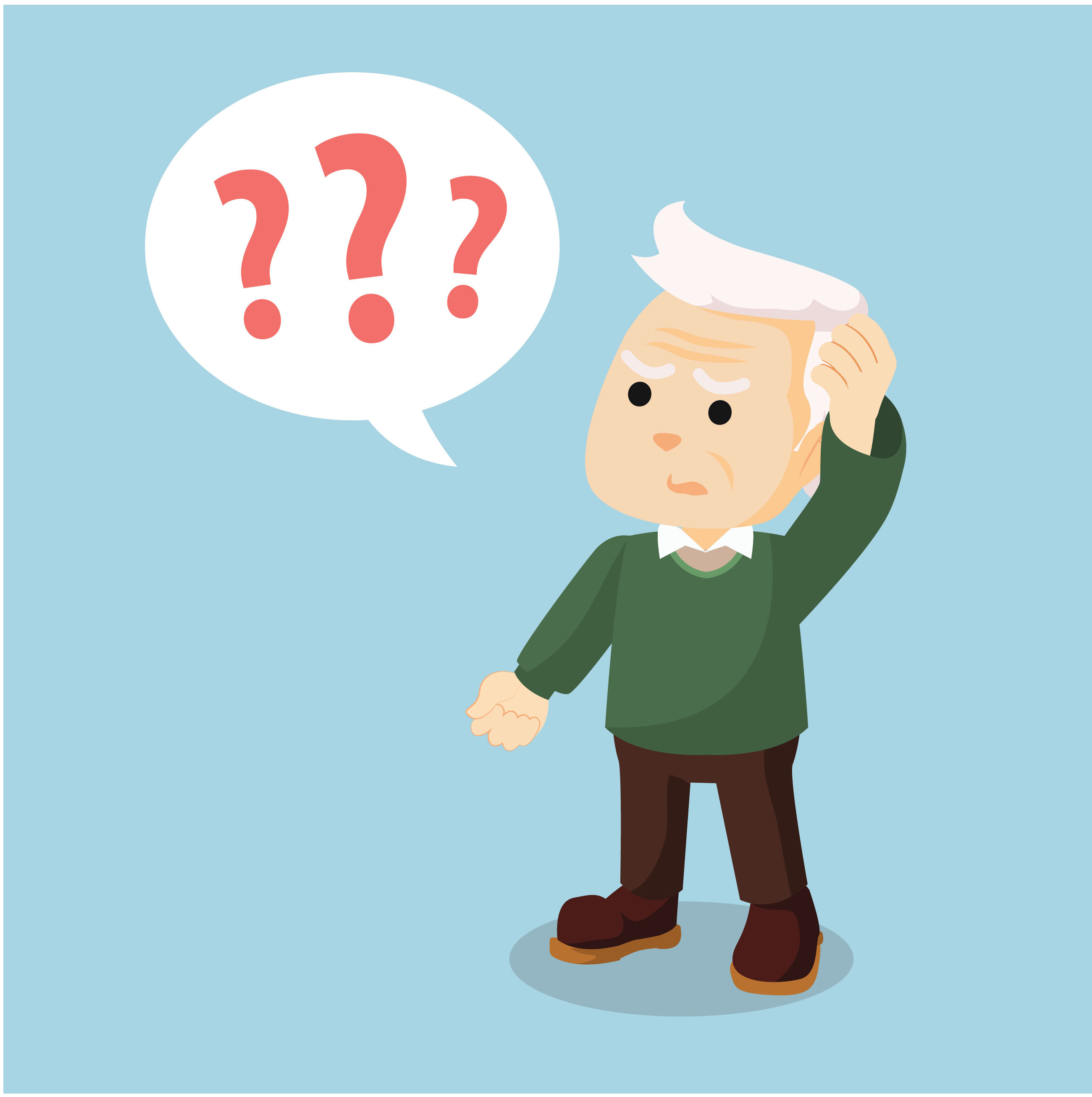 older man question marks cartoon