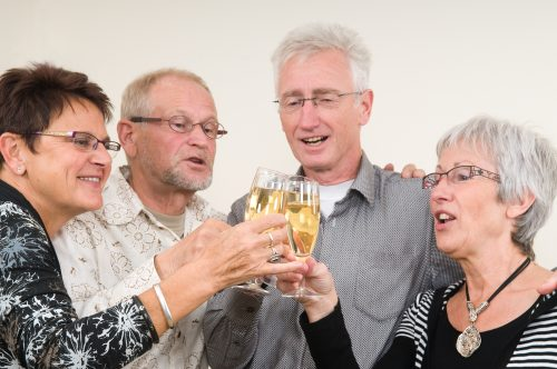older people toasting