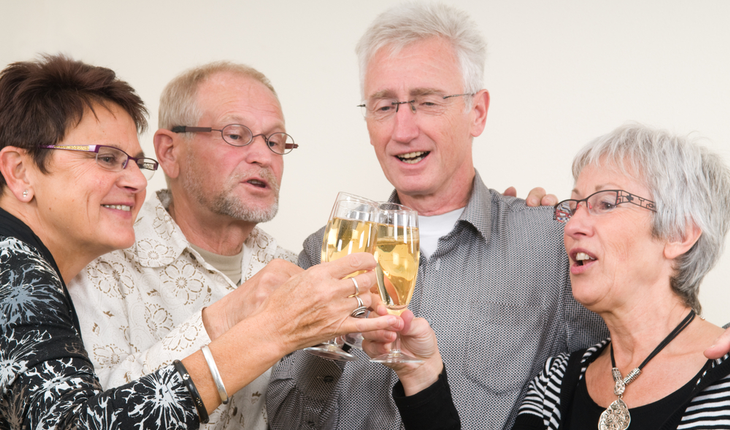older people toasting