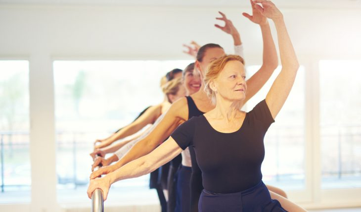 older woman in ballet class