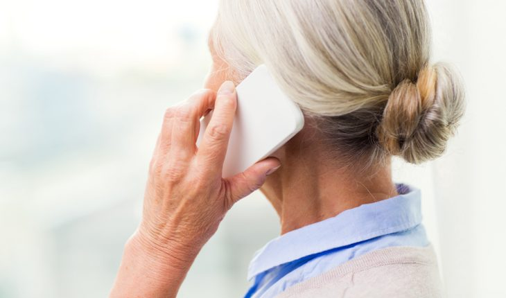 older woman on cell phone