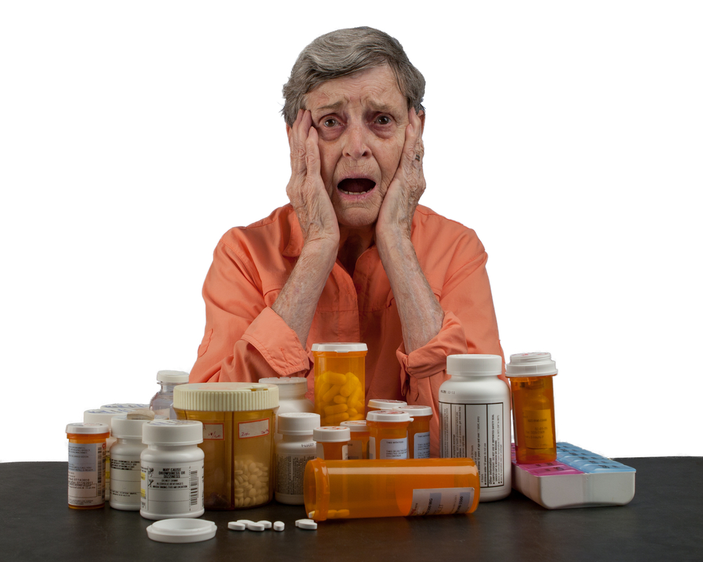 older woman with medications