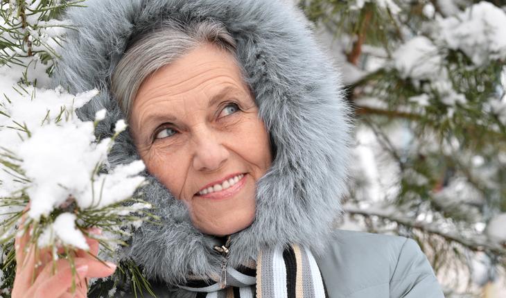 older woman in winter