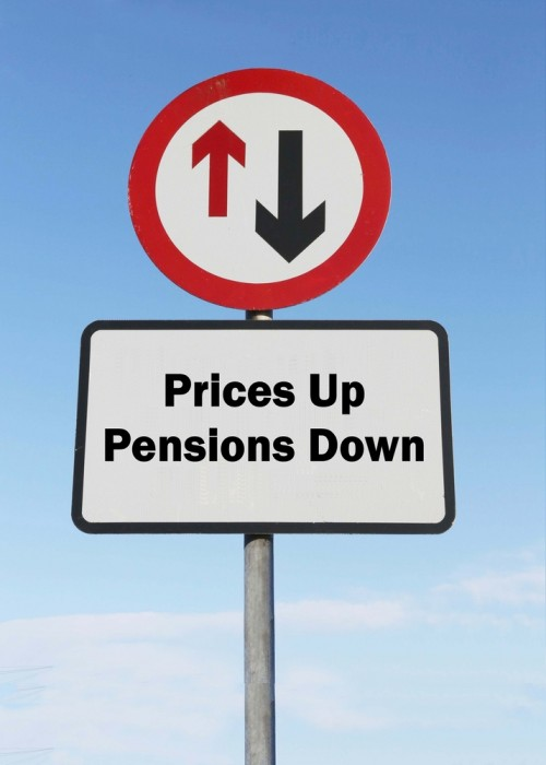 pensions down sign