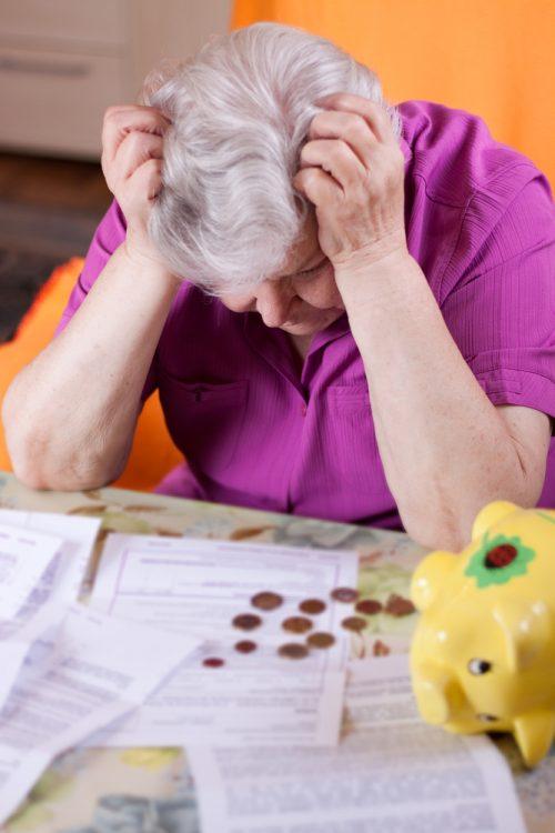 retired woman facing financial crisis