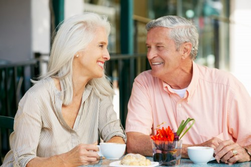 senior couple coffee date
