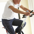 senior man, exercise bike