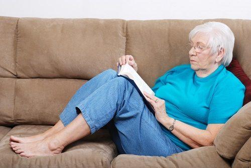 senior woman on sofa
