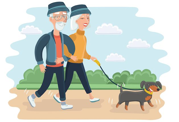 senir-couple-walking-the-dog-cartoon