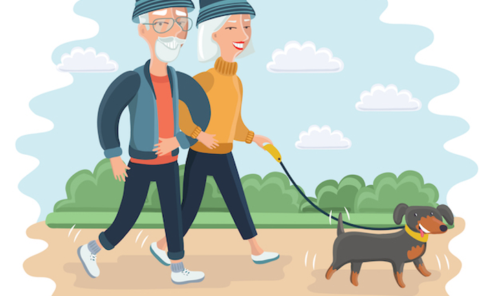 senir-couple-walking-the-dog-cartoon