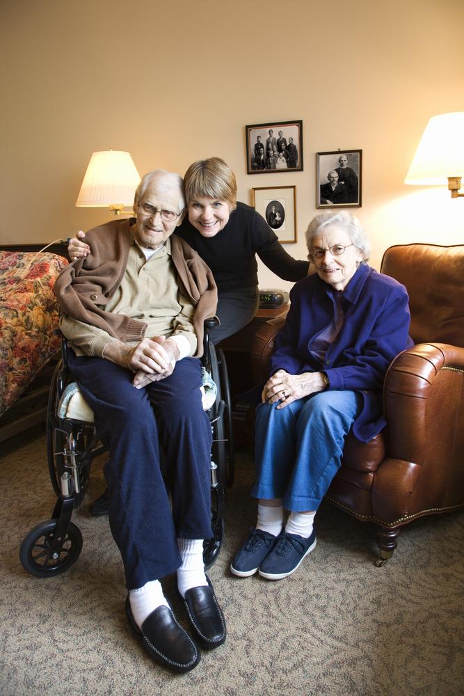 Seniors sitting and smiling
