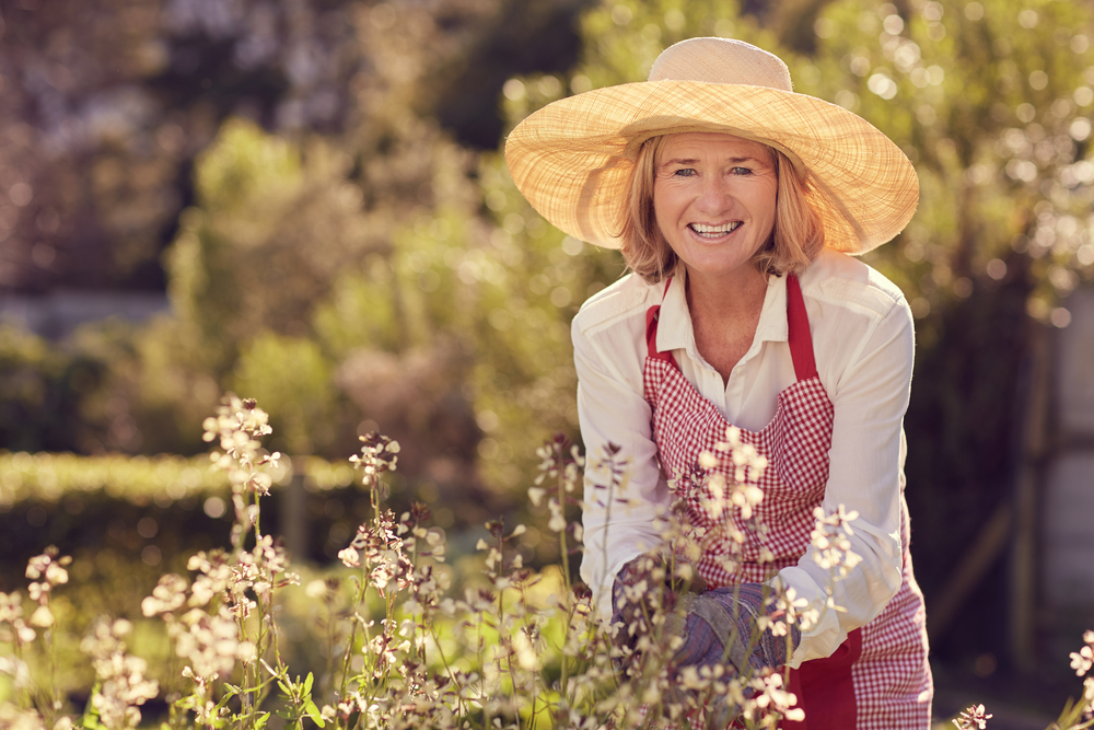 hat while gardening