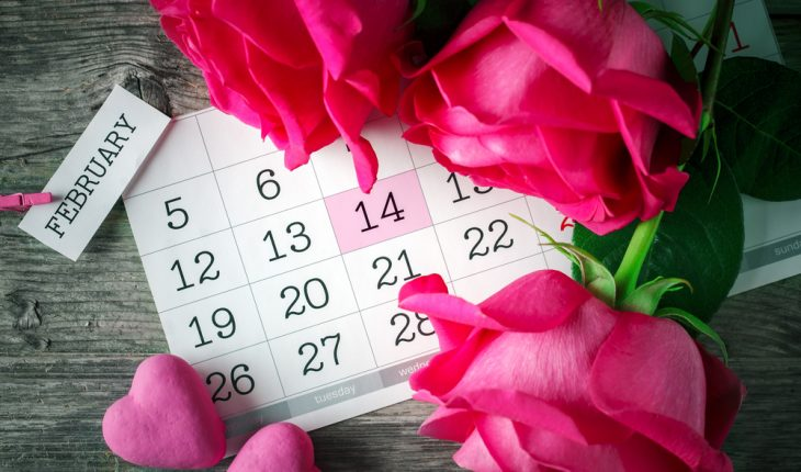 Valentine flowers and calendar