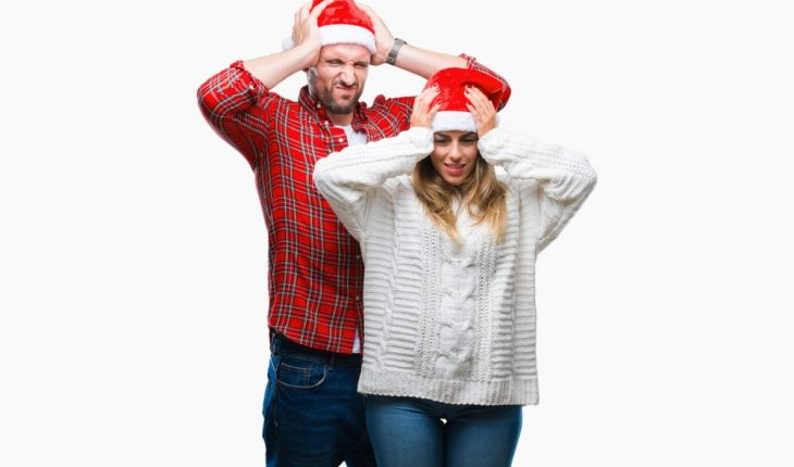 stressed holiday couple at Christmas