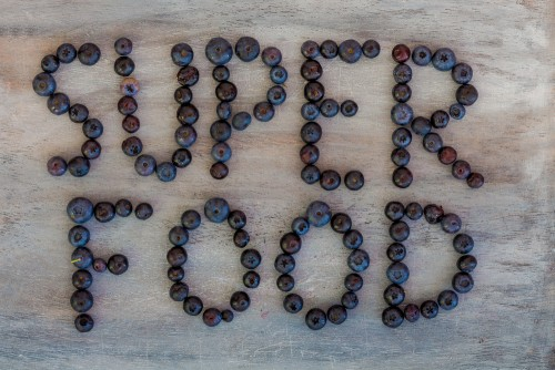 Super Foods Spelled out with blueberries
