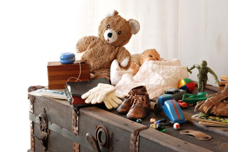 vintage toys and trunk