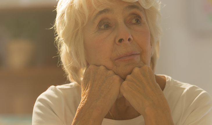 worried, lonely older woman
